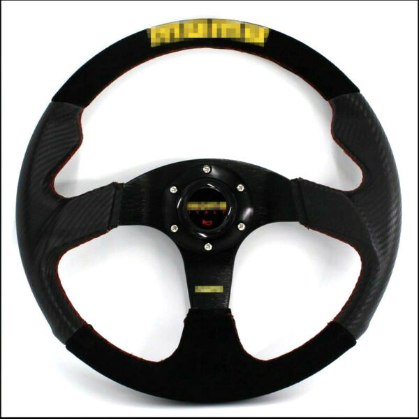 Car Steering Wheel 14 Inch Carbon Fiber Pvc + Suede Leather 350 Mm Racing Steeri