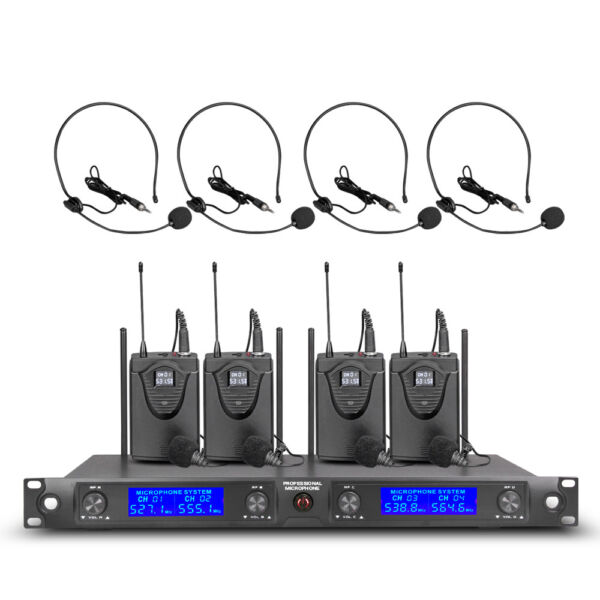 Pro Audio UHF Wireless Microphone System 4 Channel 4 Lavalier Bodypacks Headsets