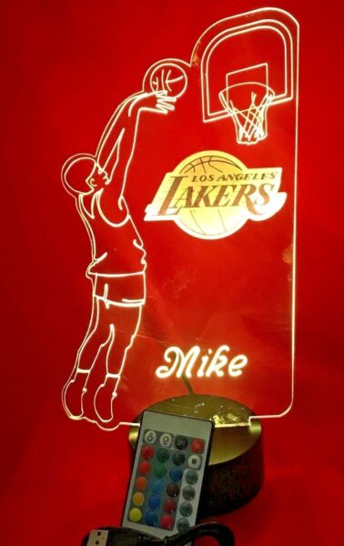 Los Angeles Lakers NBA Basketball Player Light Up Lamp LED Remote Personalized