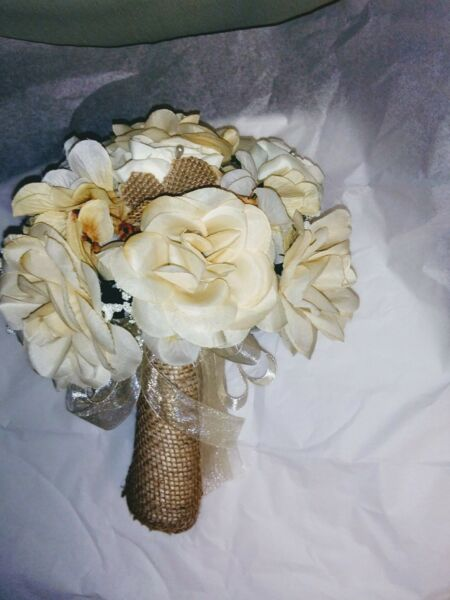 LARGE WEDDING BOUQUET CHAMPAGNE IVORY amp; BURLAP L ANY COLOR amp; RUSH AVAIL