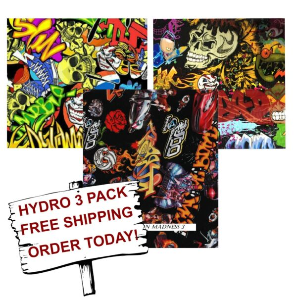 HYDROGRAPHIC WATER TRANSFER HYDRO DIP HYDRO DIPPING FILM CARTOON MADNESS 3 PACK