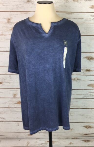 NEW Womens Terra amp; Sky Tee Shirt Blue Split V Neck Size 4X 28W 30W Relaxed Fit