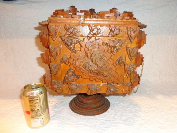 Vintage Wooden Tramp Art Table Top Fall-Front Chest Two Drawers Folk Art