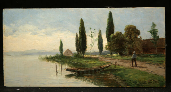 Great American Miniature 19th Century Lake View Landscape signed Theodore Wores