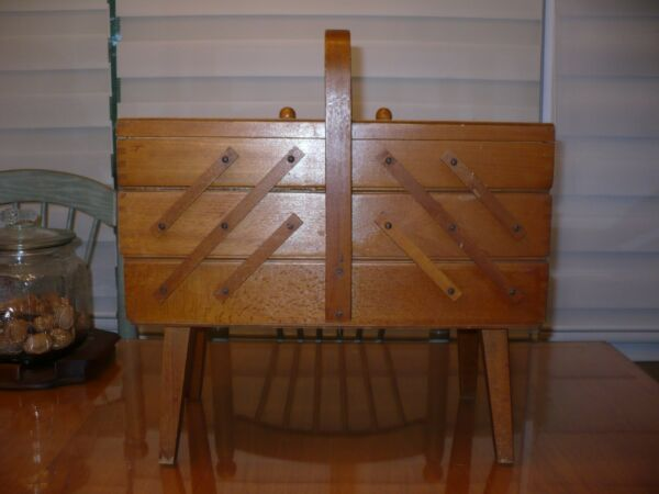 Vintage Danish Mod Wood Sewing Box Basket Tri Fold Out Accordion Handle and Legs