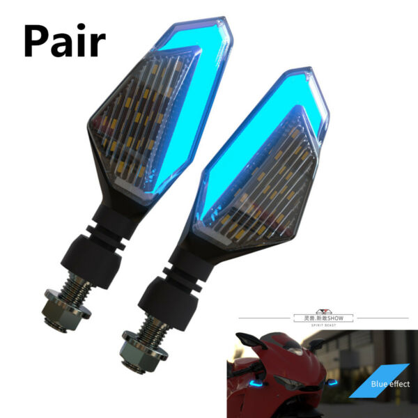 2X Yellow Motorcycle Turn Signal Steering Lights LED Daytime Running Lights Blue