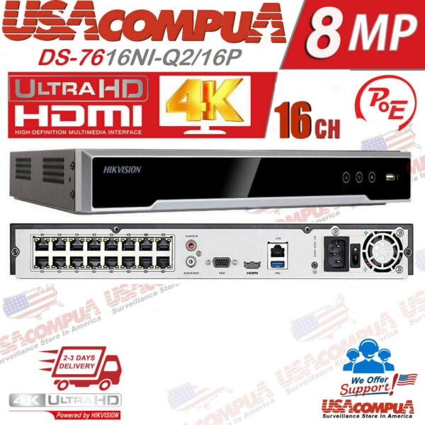 HIKVISION NVR 16 CHANNEL 16CH POE DS 7616NI Q2 16P NO HARD DISK H.265 2 SATA $279.95