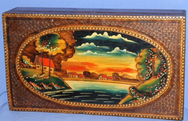 Vintage Hand Painted Landscape Pyrography Wood Box
