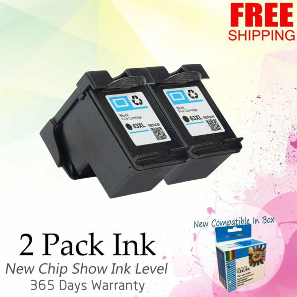 2pk Black Ink Cartridge for HP 63XL ENVY 4516 4520 OfficeJet 3830 4650 5255 5258