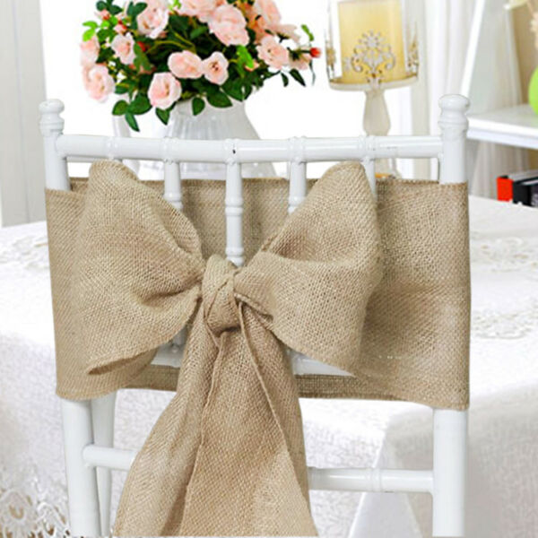 25 packs Burlap 6quot;x108quot; Chair Cover Sashes Bows Natural Jute Wedding Event USA