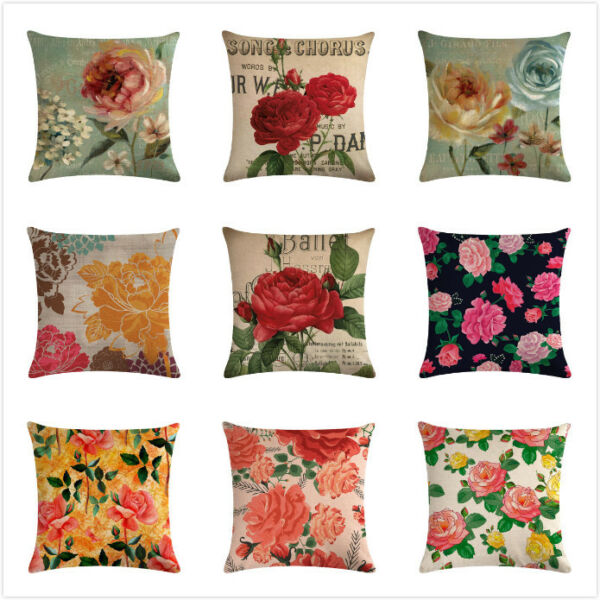 Decorative Throw Pillow Cases Flower Linen Couch Sofa Square Cushion Covers 18quot; $3.86