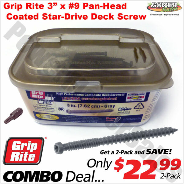 Grip Rite 3quot; Pan Head #9 Gray Coated Star Drive Composite Deck Screws 2Lb Combo $19.99