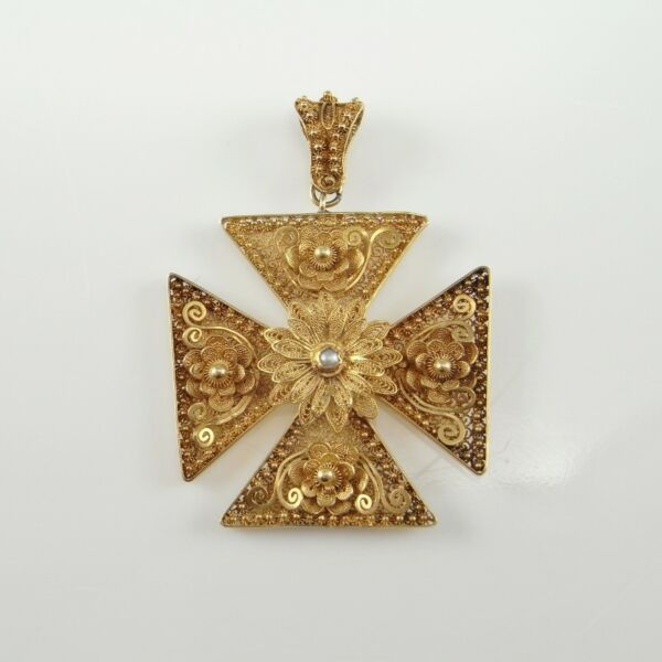 Georgian 18th C 20K Gold Cross Patty Crusader Cannetille Lace Antique Pearl