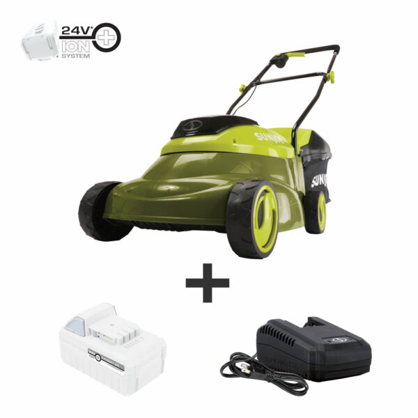 Sun Joe Cordless Lawn Mower with Brushless Motor 24 Volt 5 Ah 14 Inch $199.00