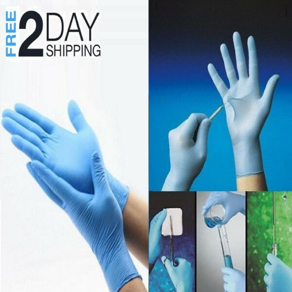 100 Disposable Nitrile Rubber Gloves Slip Resistant Latex & Powder Free XL Size