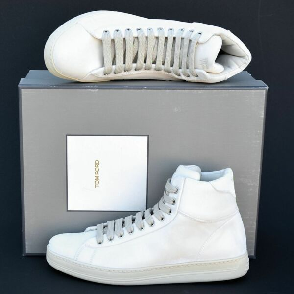 Tom Ford New sz 7.5 Auth Designer Mens High Top Sneakers Shoes natural ivory