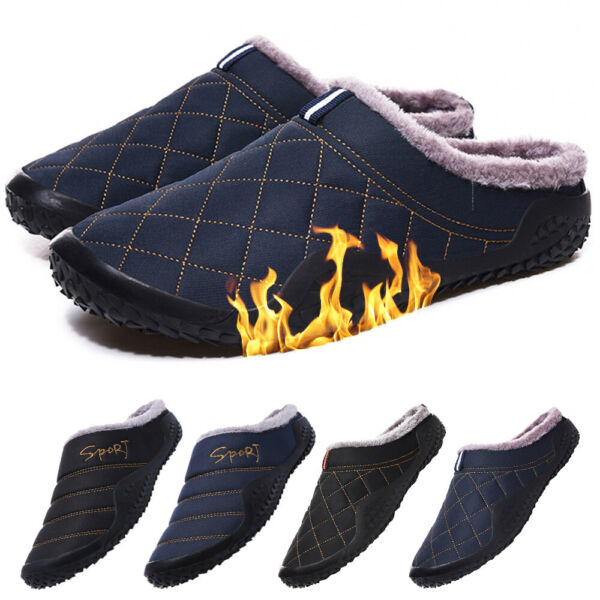 Mens Winter Indoor Plush Home House Slippers Outdoor Warm Cozy Fur Lined Shoes