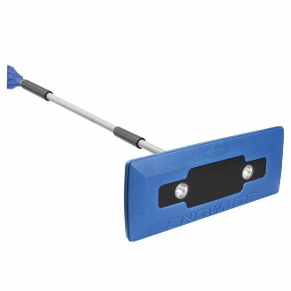 Snow Joe 4-In-1 Telescoping Snow Broom + Ice Scraper  18-Inch  Headlights Blue