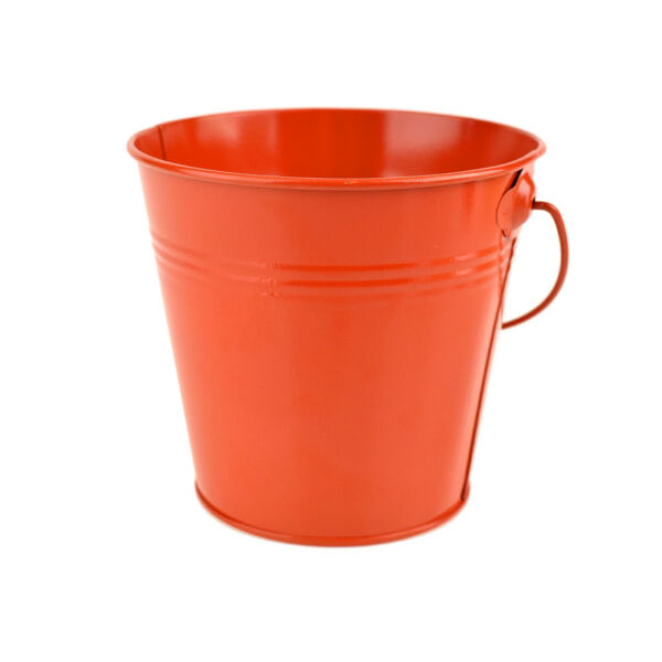 Metal Pail Bucket Party Favor Vermilion Orange 5-Inch - Great for Halloween!