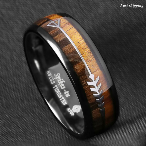 86mm Black Dome Tungsten Ring 2 Style Wood Arrow Wedding Band ATOP Men Jewelry