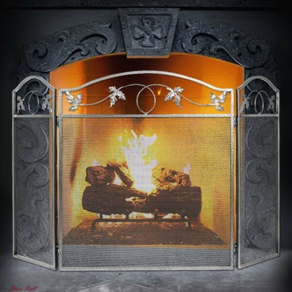 Fireplace Screen Protector Cover 3 Panel Pewter Wrought Iron Decorative Mesh New