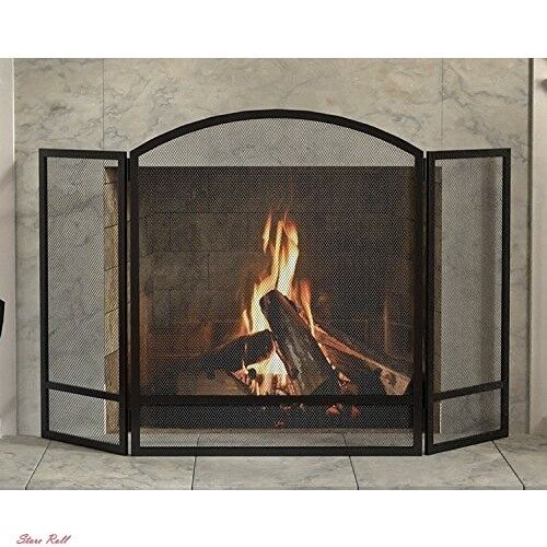 Fireplace Screen Protector Cover 3 Panel Arch Screen With Double Bar Home New