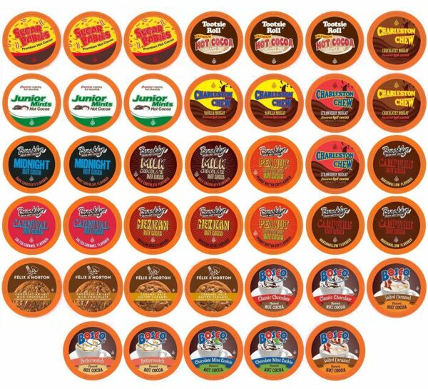 40 Two Rivers Hot Chocolate Pods Variety Sampler Pack for Keurig K-Cups Maker