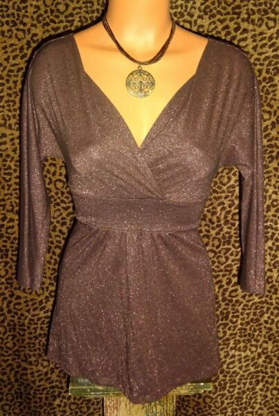 LN! EXPRESS SEXY LOW CUT CHOCOLATE BROWN SPARKLE BABY DOLL EMPIRE TOP * XSSM