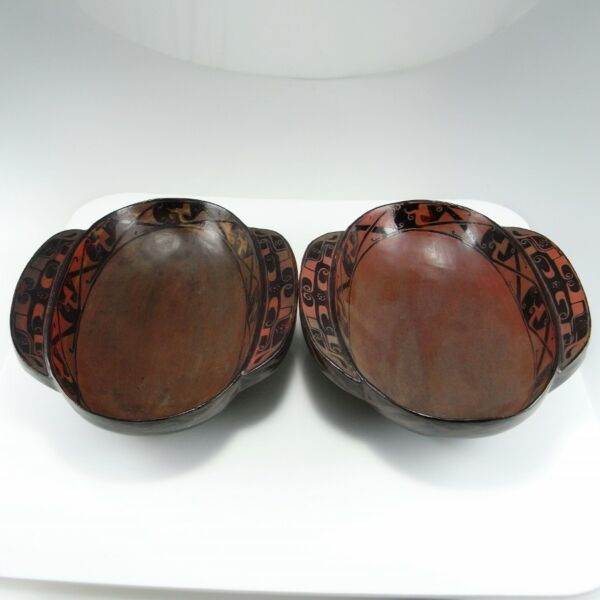 BC Eastern Zhou Dynasty Warring States Lacquer Ware Pair Winged Cups Erbei Red