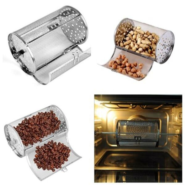 Coffee Beans & Nuts Rotisserie Grill Roaster Drum Oven Stainless Steel Basket