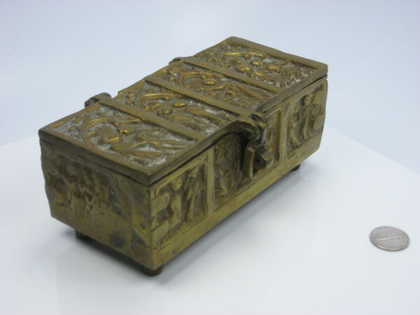 Old Antique Heavy Solid Brass Hinge Clasp Lock Key Casket Tabernacle Coffin Box