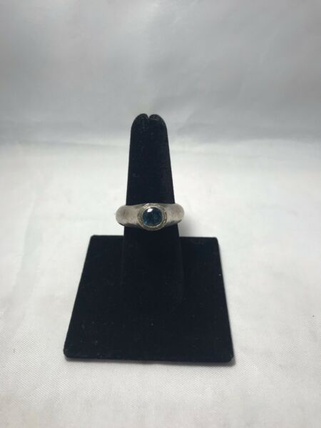 Wrought Vintage Sterling Silver Blue Stone Ring 1886 P P5