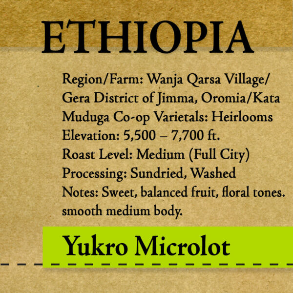 Ethiopia - Yukro - Microlot - Washed - Unroasted Green Coffee
