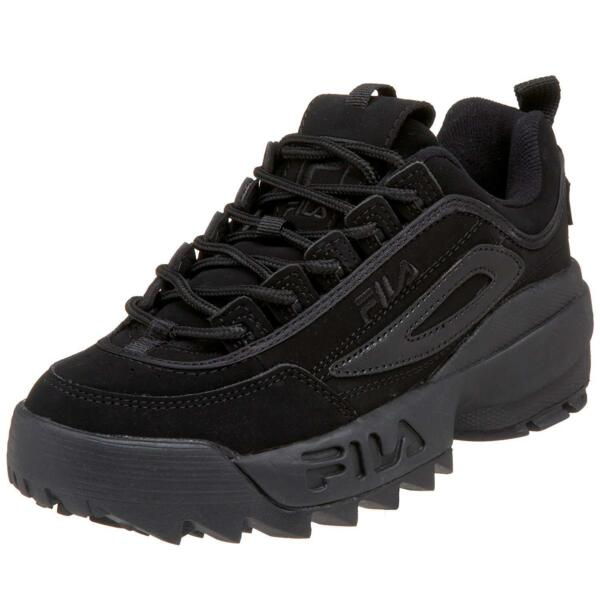 Fila Disruptor II 2 All Black Mens Fashion Suede Shoes Sneakers Hi Sole Sizes