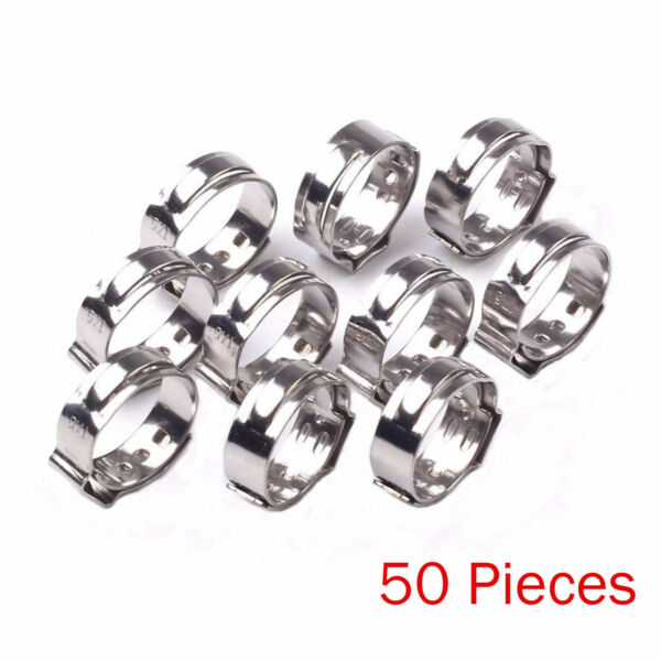 50PCS 12 PEX 17.5mm Stainless Steel Clamp Cinch Rings Crimp Pinch Fittings