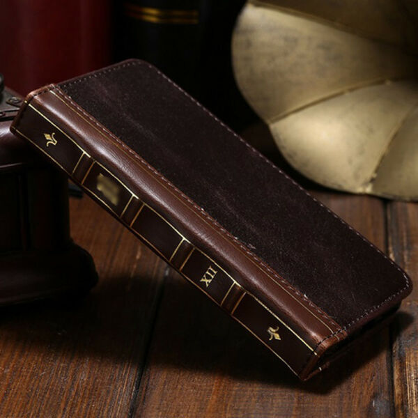 iPhone 11 Pro Max XS 8 Plus Antique Leather Card Wallet Retro Vintage Book Case