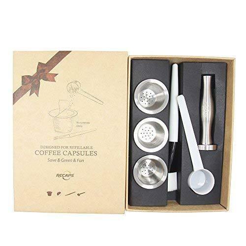 RECAPS Stainless Steel Refillable Nespresso Capsules Reusable Pods for