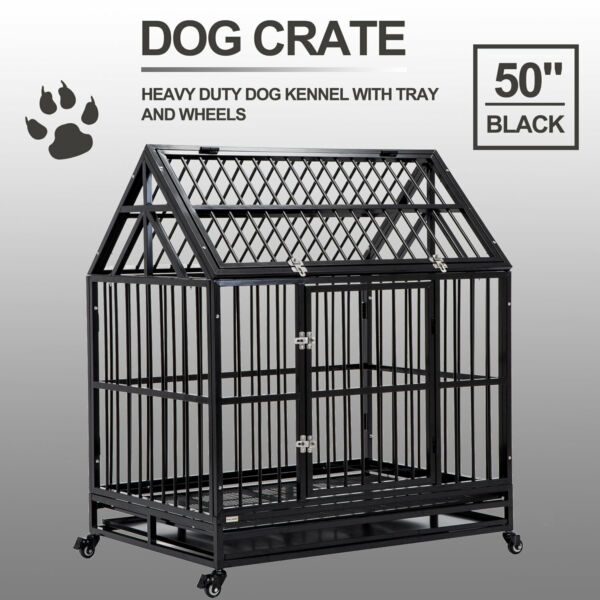 XXL Heavy Duty Pet Dog Cage Strong Metal Crate Kennel Playpen w Wheels