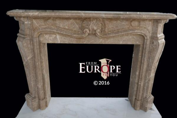BEAUTIFUL FRENCH STYLE LIGHT EMPERADOR MARBLE FIREPLACE MANTEL - MMM2