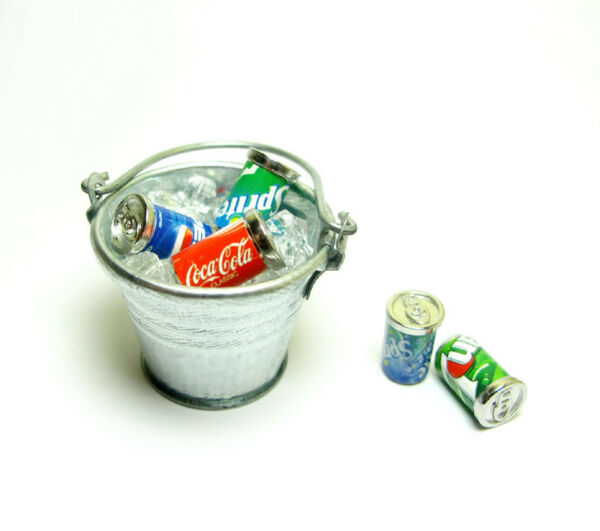 Dollhouse Miniature Bucket Pail Ice cubes & 5 Soda Cans set Bar Drink Decor 1:12