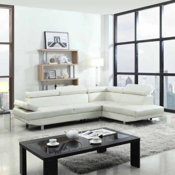 Modern Contemporary White Faux Leather Sectional Sofa Living Room Set $599.99