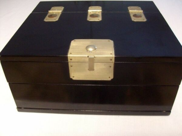 Large Black Laquer Unisex Vintage Jewelry Box Priority Shipping Included