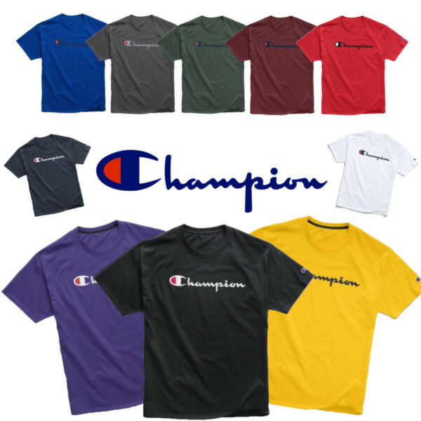 Authentic Champion Men's Jersey Script Logo Short Sleeves T-Shirt GT23H Y06794