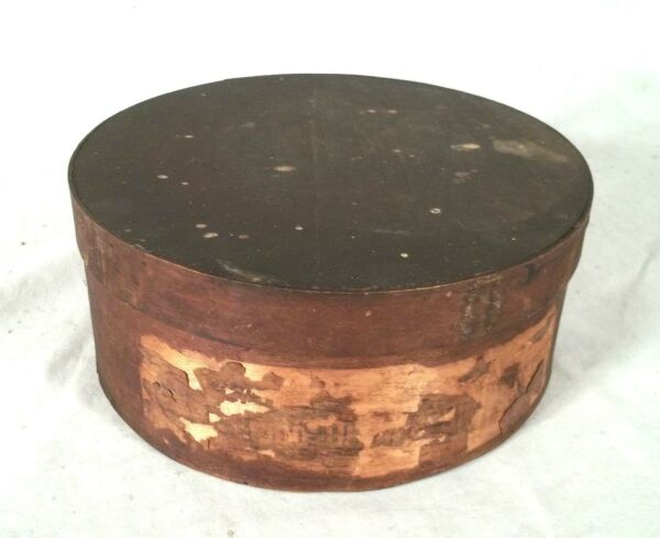 ANTIQUE 19th CENTURY EARLY AMERICAN ROUND PANTRY BOX IN ORIGINAL FINISH