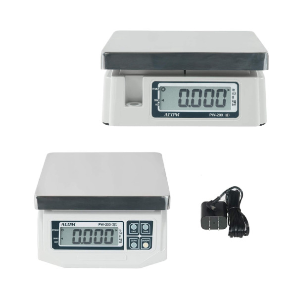 ACOM PW-200 Portion Control Scale Dual Display 60lb x 0.02lb Legal for Trade