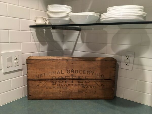 National Grocery Co Coffee roasters Seattle WA Crate early 1900s wood mercantile