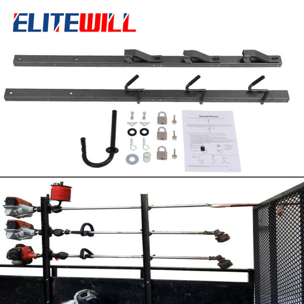 3 Place Weedeater Trimmer Rack With Locks OPEN Landscape Trailer New