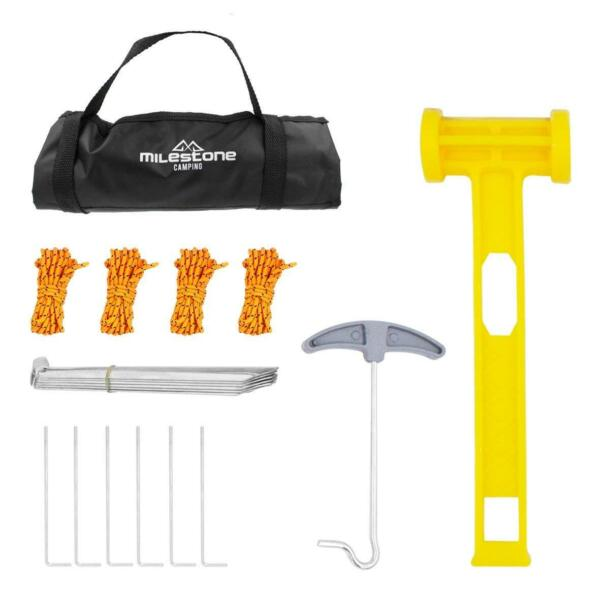 Milestone Camping Full Tent Accessories Set And Bag Pegs Rope Plastic Mallet