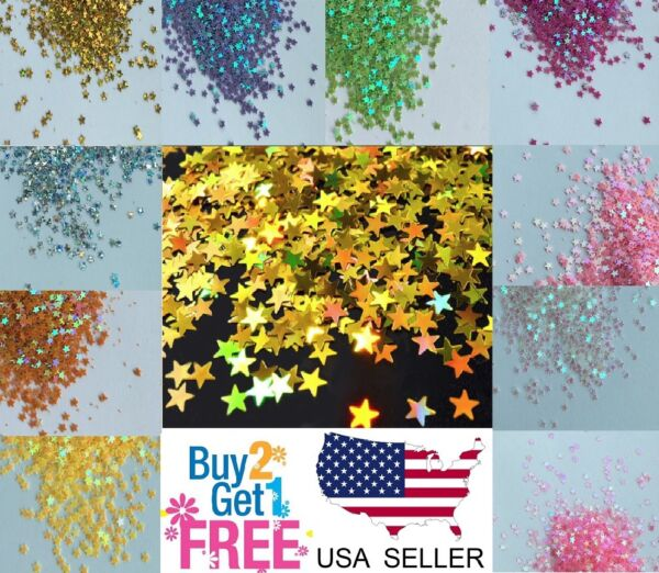 STAR Glitter⭐Multi Colors Nail Holographic Glitter Art Acrylic Gel Free shipping