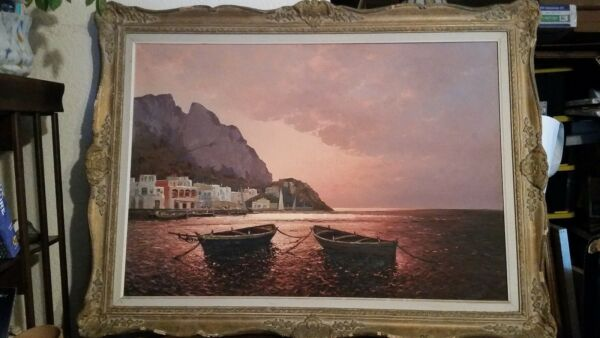 Guido Odierna 1913-1991 Italian Listed Artist OC TWILIGHT CAPRI COAST BOATS